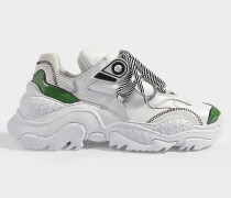Sneaker Oversized Billy aus weißem und grünem Polyester