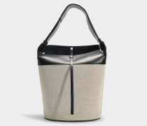 Large Bucket Bag aus schwarzem Kalbsleder