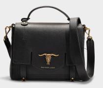 Kleine Handtasche Schooly aus schwarzem Kalbsleder
