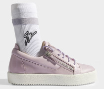 Socket Sneaker aus glattem Kalbsleder und Baumwolle in Violett