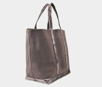 Pailletten and Canvas Medium Zipped Tote Bag aus anthrazitfarbener Baumwolle