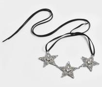 Ribbon Choker Halskette mit Crystal Sternen aus Ruthenium und Kristallen