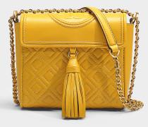 Handtasche mit Schulterriemen Fleming Box aus Lammleder in Gelb