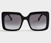 Sonnenbrille aus schwarzem Metall und bio Acetat