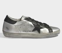 Sneaker Superstar mit Samtdetails aus schwarzem und silbernem Ziegen- und Kalbsleder