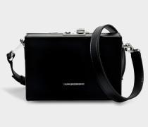Mini Box Shoulder Bag aus schwarzem Kalbsleder