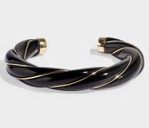 Armband Diana Twisted aus vergoldetem Messing Schwarz