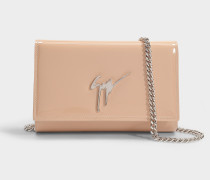Logo Bag with Chain in Blush Patent Leather