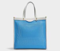 Mesh Tote Tasche aus blauem und Kreidegeflecht