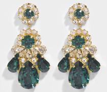 DS Emerald Schmuckstein Ohrringe aus grünem Messing und Swarowskisteinen