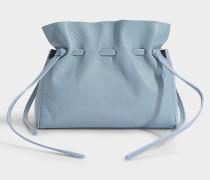 Handtasche Souple mit Schnürsenkel Mini Protea aus graublauem Lammleder