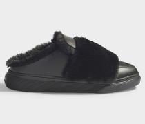 Sneaker H365 Sabot mit Fake Fur Details aus schwarzem, glattem Kalbsleder