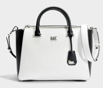 Nolita Medium Satchel Tasche aus Optic weißem und schwarzem Leder