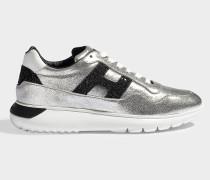 Sneaker Interactive Cube aus silbernem und schwarzem Leder