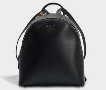 Sutton Medium Backpack aus schwarzem gemustertem Leder
