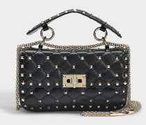 Rockstud Spike Small Shoulder Bag aus schwarzem Nappaleder