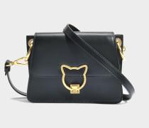 Kat Lock Crossbody Tasche aus schwarzem glattem Kalbsleder