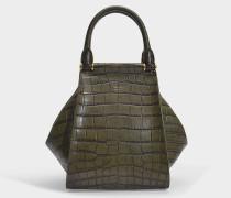 Kleiner Shopper Anita aus khaki-grünem kroko-geprägtem Kalbsleder