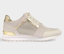 Sneaker Billie Trainer aus cremefarbenem, perforiertem Wildleder und Metallicleder