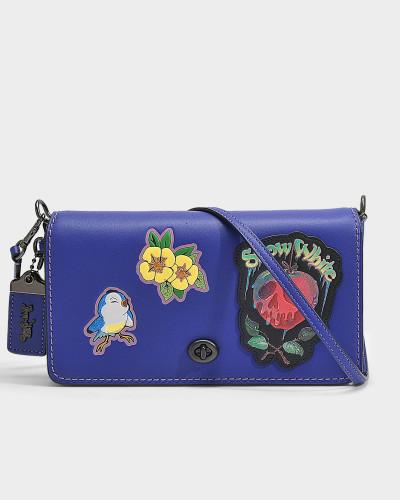 Handtasche mit Schulterriemen Dinky Dark Fairytale Patches aus lila Kalbsleder