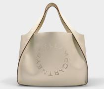 Alter Nappaleder Tote Stella Logo Tasche aus weißem Öko Leder