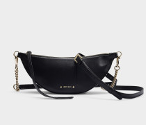 Faye Shoulder Bag in Black Nappa Leather with Embossed Choo Logo
