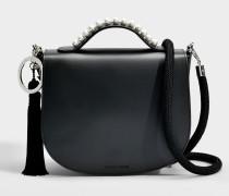Winston Stud Top Handle Tasche aus schwarzem Kalbsleder