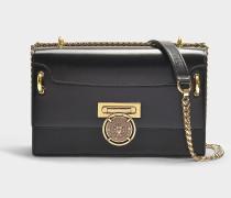 Handtasche mit Taschenklappe Bbox 25 aus schwarzem Kalbsleder