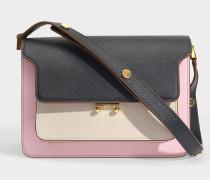 Handtasche Trunk aus schwarzem, beigen und pinken Leder