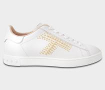 Sportivo Studded Sneaker aus weißem Kalbsleder