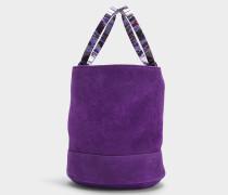 Handtasche mit Schulterriemen Bonsai 20 cm aus lila Kalbsleder
