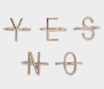 5 Sand Yes No Rings aus goldfarbenem Metall