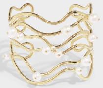 Armreif Cheyne Walk aus vergoldetem Messing und weißer Perle