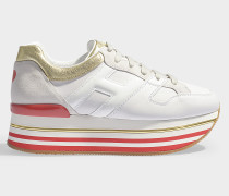 Sneaker Maxi Platform mit Herzmotiv aus glattem, weißem, goldenem und rotem Kalbsleder