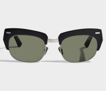 Isabella Sonnenbrille aus schwarzem silber und hellgrünemem Metall