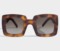 Show Square Sonnenbrille aus Havana Acetat und Metall