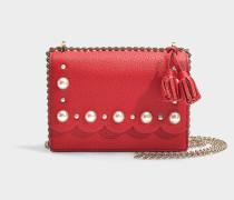 Tasche Crossbody Hazel Hayes Street Pearl aus genarbtem, rotem Leder