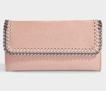 Portemonnaie mit Taschenklappe Falabella Shaggy Deer aus Synthetikmaterial in Blush Nude