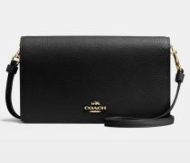 Kleine Handtasche mit Taschenklappe aus schwarzem Kalbsleder