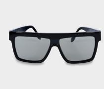 Flat Top Visor Sonnenbrille aus schwarzem solidem Acetat