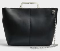 Hand Carry Crossbody Tasche mit Chain aus schwarzem Kalbsleder mit Folie