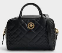 Handtasche Bowling aus schwarzem, gestepptem Kalbsleder