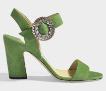 Sandalen Mischa 85 aus grünem Samt mit Kristallschnalle