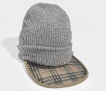 1983 Check Wool Cashmere Peaked Beanie aus Wolle und Kaschmir Grau
