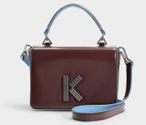 Handtasche mit Schulterriemen Klasp aus pflaumenfarbigem Kalbsleder