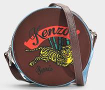 Kleine Handtasche mit Schulterriemen Jumping Tiger aus pflaumenfarbenem Polyamid und Acryl