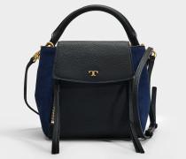 Handtasche mit Schulterriemen Half-Moon Mixed Materials aus schwarzem Kalbsleder und in Marineblau