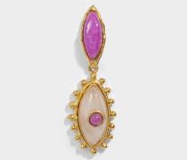 The Third Eye Ohrringe aus vergoldetem Messing mit rubyrotem und rosanem Quartz