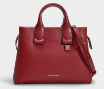Rollins Large Satchel in Red Calfskin