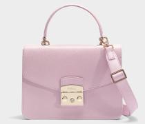 Kleine Handtasche Metropolis aus rosa Kalbsleder